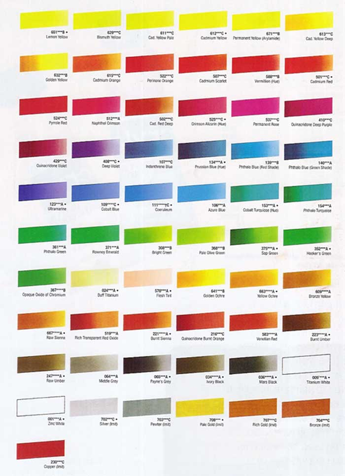 Cryla Acrylic Colour Chart at online discounts