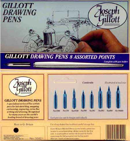 Gillott Drawing Pens 8 assorted points nibs with 1 holder