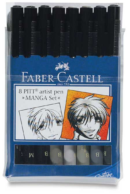 Manga  Faber Castell Pitt Artist Brush Pens set of 8 individual shades and sizes Save over £5.50