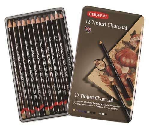 Tinted Charcoal 12 derwent pencils with a hint of colour