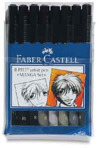 Manga  Faber Castell Pitt Artist Brush Pens plastic case of 8 individual shades and sizes Save over �5.50